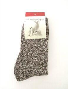 Fia - Irish Woolen Walking Socks - Merino Wool Blend  Size: Medium  Color: Brown