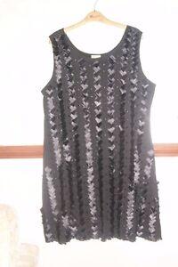 Roman Originals Black Tunic Dress Satin Beads Evening Party Cruise size XL NWOT