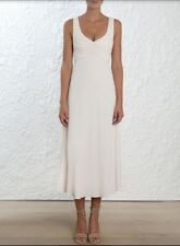 Zimmermann Rouche Scoop Dress | Pearl White Midi Cocktail Viscose | $500 RRP