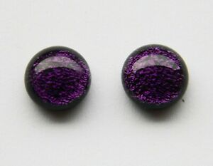Genuine Hand Crafted Dichroic Glass Stud Earrings -  Deep Purple Shimmer