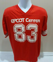 Vintage 80s Epcot Center Walt Disney World Red 1983 V-Neck Jerey T-Shirt XL RARE