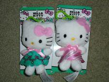 "Set of 2 SANRIO Hello Kitty Clip On Plush 4"" Keychain Purse Charms - NEW."