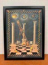 Framed engraving 30x40 cm Freemason Vrijmetselarij Tracing Board