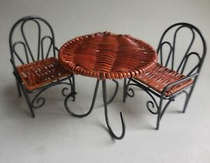 DOLLHOUSE MINIATURE ~ DECORATIVE BLACK METAL TABLE & CHAIR  SET ~ RETIRED