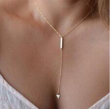 Halskette Y-Kette mit Dreieck Gold Blogger Kette Anhänger Schmuck P174