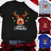 Women Casual Merry Christmas Print Short Sleeves O-Neck Loose T-Shirt Blouse Top