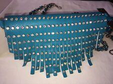 CROSSBODY PURSE Faux Leather STUDDED CRYSTALS RIVETS FRINGE Shoulder Handbag NWT