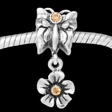 European Style Charm Bead butterfly flower dangle with gold stones -Free Offer!