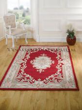 Flair Rugs Lotus Premium Aubusson Traditional 100 Wool Rug Red W150cm X L240cm