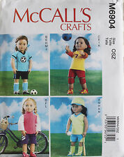 "18"" GIRL DOLL SPORTS CLOTHES McCall's Sewing Pattern 6904 American Made NEW"