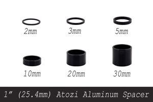 "1"" (25.4mm) Atozi Aluminum Bike Headset Stem Spacer Kit 2/3/5/10/20/30mm Black A"