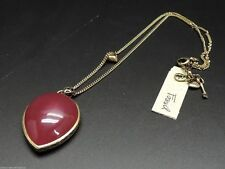 Fossil Berry Red Set Stone Necklace Pendant Brass Ox Tone Chubby Bird Charm New!