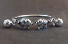 Adorable Womens Sterling Silver 925 Bangle Cuff Elephant Charm Jewelry Bracelet
