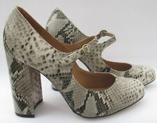 NEW Office size 6 (39) grey & black leather snake print high heel courts unworn
