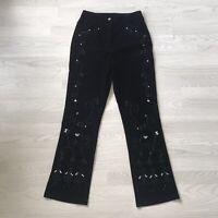 FOR WOMAN Black Velvet Bootcut Trousers Beaded Embroidered Sparkle UK 14 Z4