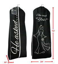 HE ASKED SHE SAID YES Black Breathable Wedding Gown Bridal Dress Garment Bag
