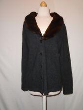 Ralph Lauren Womens Soft Wool Cashmere Angora Faux Fur Collar Jacket Size Mediun
