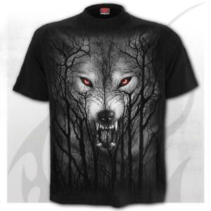 Spiral Direct Forest Wolf Black Mens T-Shirt Heavy Metal Gothic Tattoo Biker