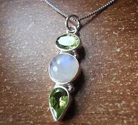 Moonstone and Peridot Triple Gem 925 Sterling Silver Pendant Corona Sun Jewelry