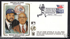 Reggie Jackson Usps 1993 Z Silk Cachet Envelope Hall of Fame Induction with Dad