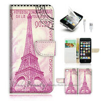 ( For iPhone 5 / 5S / SE ) Wallet Case Cover! Eiffel Tower Paris Stamp P0492