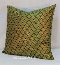 1 JADE GREEN & GOLD COTTON BATIK THROW PILLOW COVER SQUARE 45x45cm OR 18x18in