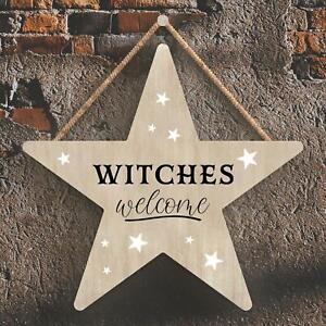 WITCHES WELCOME STAR SHAPED WITCHCRAFT THEMED HALLOWEEN WOODEN HANGING PLAQUE