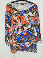 Ladies EVANS Top Size 16 Multicoloured Floral Stretch Boat Neck Long Sleeve