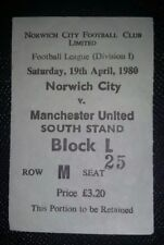 1979/80 ORIGINAL DIVISION ONE  TICKET NORWICH CITY  v MANCHESTER UNITED