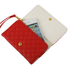 Hülle f iPhone 4 4S Portmonee Portemonnaie Leder-Imitat Tasche Wallet Case Rot