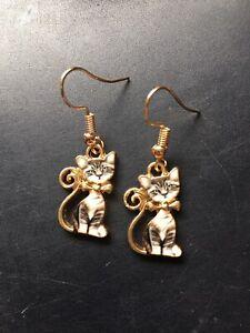 Cat Earrings Grey Kitten Earrings Enamel Charm On 18ct Gold hooks - Free Postage