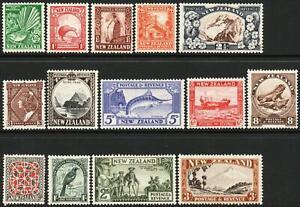 NEW ZEALAND-1936-42 Set to 3/- Sg 577-590c MOUNTED MINT V48233