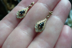 Vintage 9 Carat Gold, Diamond and Sapphire Drop Earrings