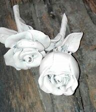 2 Stck. Rose Blume Polyresin Chic Antik Creme/rose Tischdeko Deko Dekofigur
