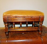 Antique Edwardian Oak Rectangular Foot Stool with Tan Leather Top -Turned Detail