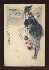 France Art Nouveau Glamour Lady artist L'Omnibus? Toulouse-Lautrec? 1902 u/b PPC
