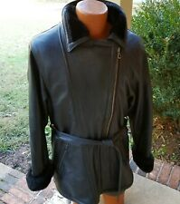 LEATHER LIMITED Women's Black Leather Shearling Coat/Jacket Size XL