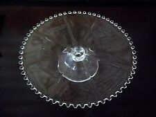 "Imperial Glass CANDLEWICK Low Cake Stand w/ Ribs, 400 67D, 10"" Beaded Cake Plate"