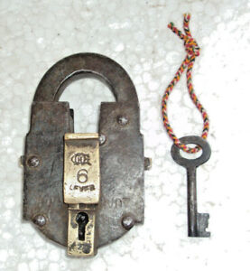 Old Iron Brass Pad Lock with Original Key Working condition Push button system