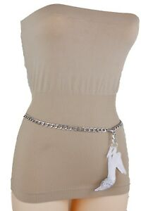 Women Elegant Party Belt Silver Metal Chain Glitter Pump Shoe Buckle Plus XL XXL