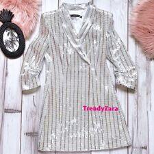 NEW ZARA AW18 WHITE METALLIC BLAZER DRESS 7581/560 SIZE XS VESTIDO METALIZADO