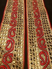 One Yard Latest Zari Red Embroidery Trim Saree Blouse Border SewOn Crafting Lace
