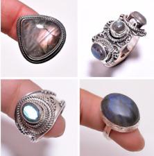 925 Sterling Silver Ring SIZE UK P 1/2 Natural Labradorite Gemstone Jewelry CR26