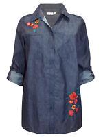 Avenue blouse shirt top plus size 22/24 26/28 30/32 dark denim floral embroidery