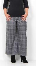 Oska Gray Check Wool Cropped Super Wide Leg Trouser Pants Lagenlook Sz 5 14/16