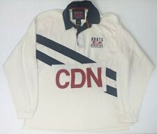 Roots Jeans Roots Athletics Cream L/S Rugby CDN Logo Shirt Mens Sz Large