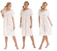 Mujer Flores Manga Corta Jersey De Algodón Camisón Camisón Camisa De Dormir
