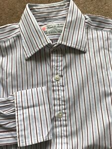 Turnbull & Asser Jermyn St. White with Brown & Blue Stripes Cotton Shirt 15 38