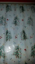 """Holiday Christmas Trees Ornaments Shower Curtain +12 Star Hooks 70"""" X 72"""""""