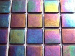 Iridescent Mosaic Tiles Tessera, Tesserae 20mm. 75 Tile Pack, Dark Violet